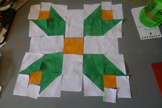 Beginning to work out the details of a Tulip Quilt