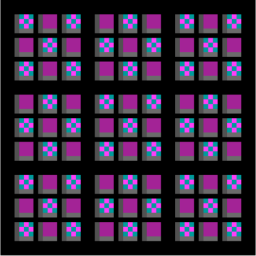 Meta Nine Patch, alternate squares are coloured