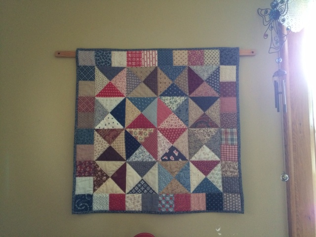 The finished scrap quilt, which I began in August 1989 and completed in November 1993