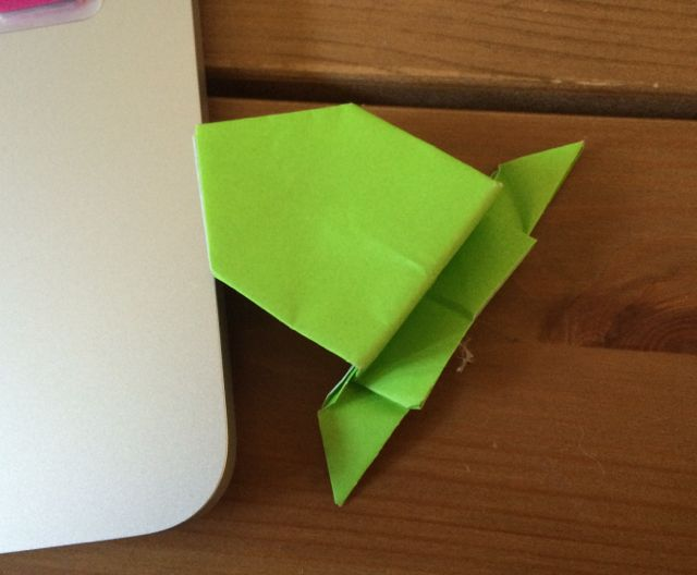 My wee Origami Frog. He jumps, too. When he feels like it.