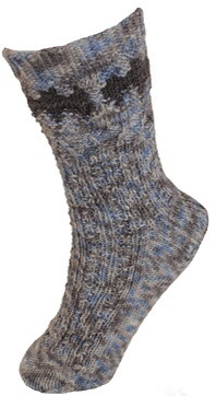 Gotham City Skyline Socks, designed by Melanie Matos. Kit & Pattern available from Holiday Yarns.