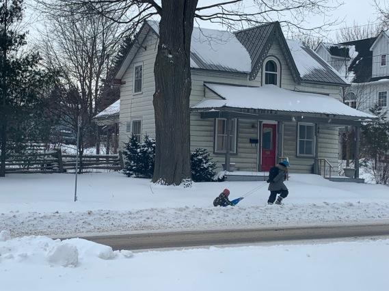 sled on the sidewalk